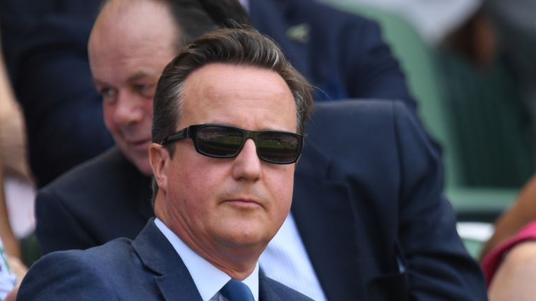 David Cameron was spotted enjoying himself at Wimbledon on Friday