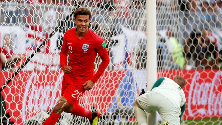 England's Dele Alli celebrates scoring their second goal