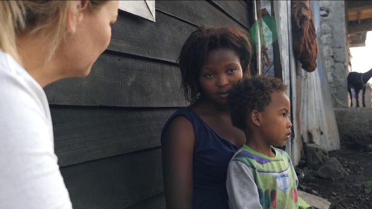 Francine Lutete, pictured with her son Mika, was promised a new life by an aid worker