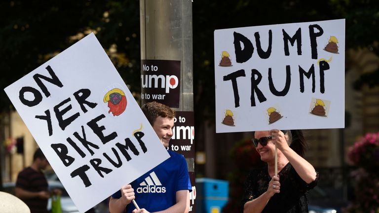 Demonstrators in George Square, Glasgow, for the Scotland United Against Trump protest against the visit of US President Donald Trump to the UK. Picture by: Lesley Martin/PA Wire/PA Images