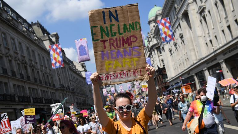 on July 13, 2018 in London, England. Tens of Thousands Of Anti-Trump protesters are expected to demonstrate in London and across the country against the UK visit by the President of the United States. Many people disagree with his policies that include migrant family separation, discrimination of transgender military personnel and changes to laws protecting women's sexual health.