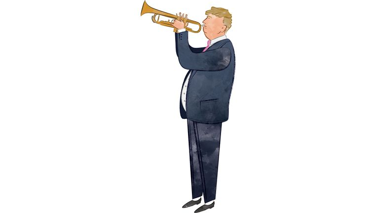 Donald Trump has no problem blowing his own trumpet