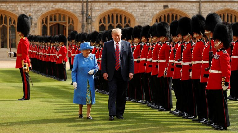 U.S. President Donald Trump and Queen Elizabeth inspect the Coldstream Guards