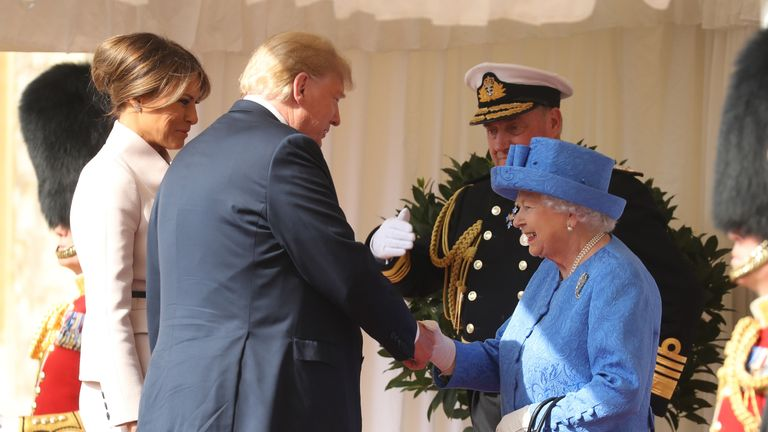 The Queen has met US President Donald Trump at Windsor Castle  Watch as  they inspect the guard in place of the Duke of Edinburgh