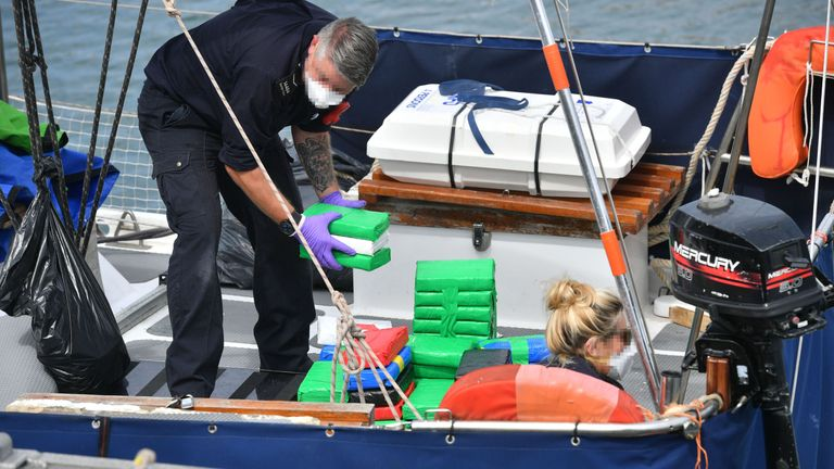 Two men are being questioned about the large amount of drugs found on the yacht