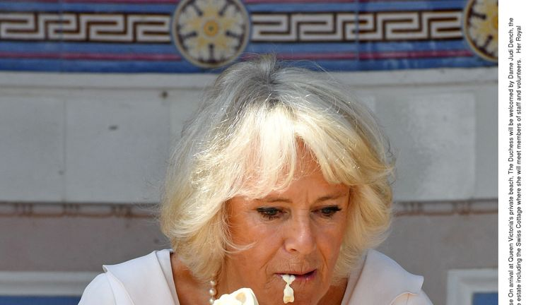 Whoops... Camilla makes a mess of her ice cream