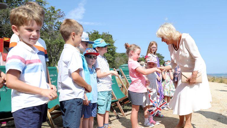 Camilla also met local schoolchildren during her visit