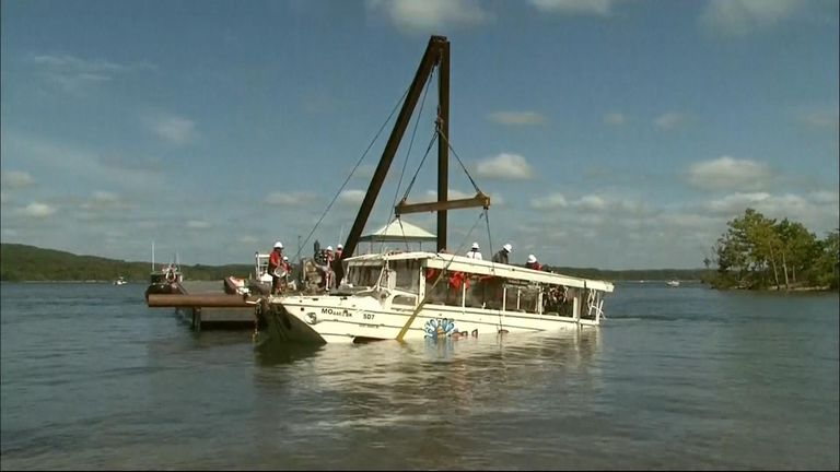 Duck boat raised to the surface
