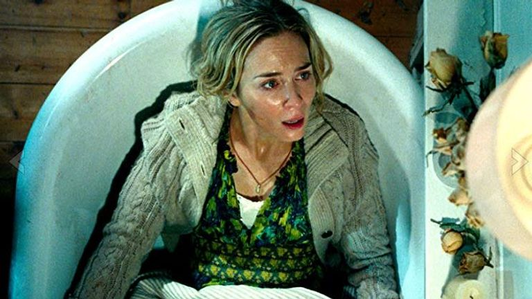 Emily Blunt avoids making a sound in A Quiet Place