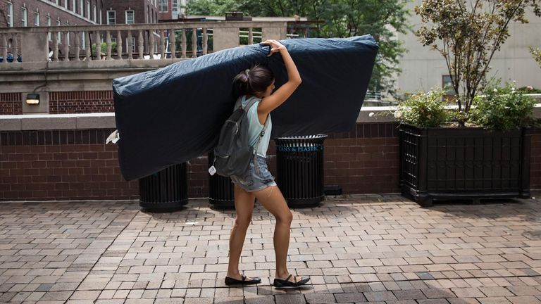 Emma Sulkowicz carried a mattress around in protest at the drawn-out assault investigation