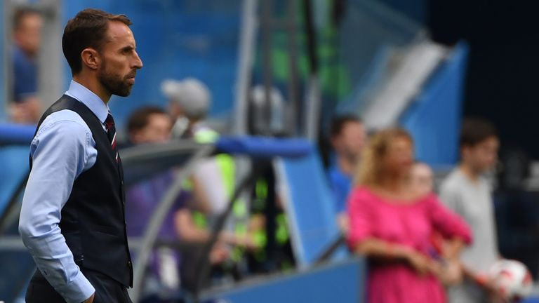 England's coach Gareth Southgate watches his team play during their Russia 2018 World Cup play-off for third place football match between Belgium and England at the Saint Petersburg Stadium in Saint Petersburg on July 14, 2018. (Photo by Paul ELLIS / AFP) / RESTRICTED TO EDITORIAL USE - NO MOBILE PUSH ALERTS/DOWNLOADS (Photo credit should read PAUL ELLIS/AFP/Getty Images)