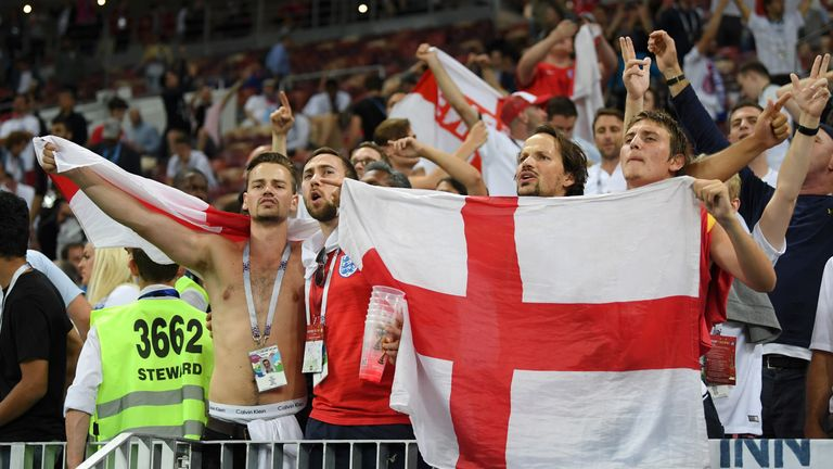 England fans show support for the team after their semi-final loss