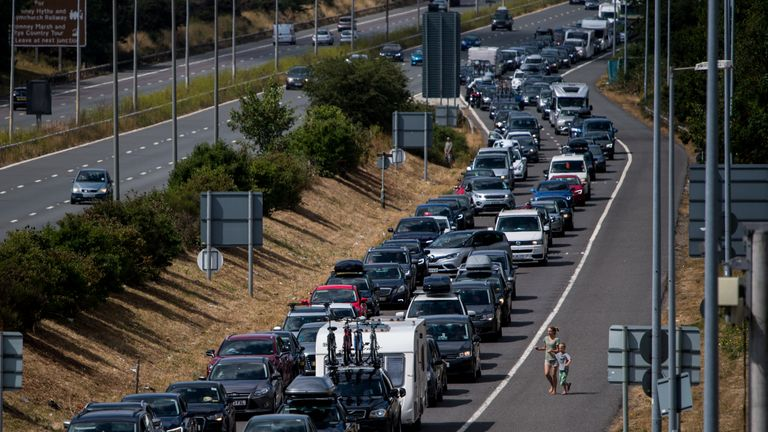 Motorists are facing long queues just to get to the Eurotunnel