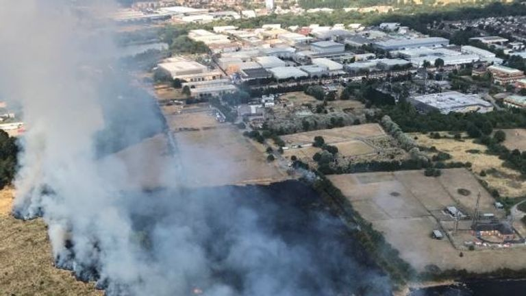 A fire in Feltham, near Heathrow Airport. Pic: National Police Air Service