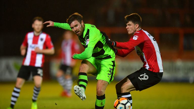 Scott Laird of Forest Green Rovers in a match against Exeter City last season