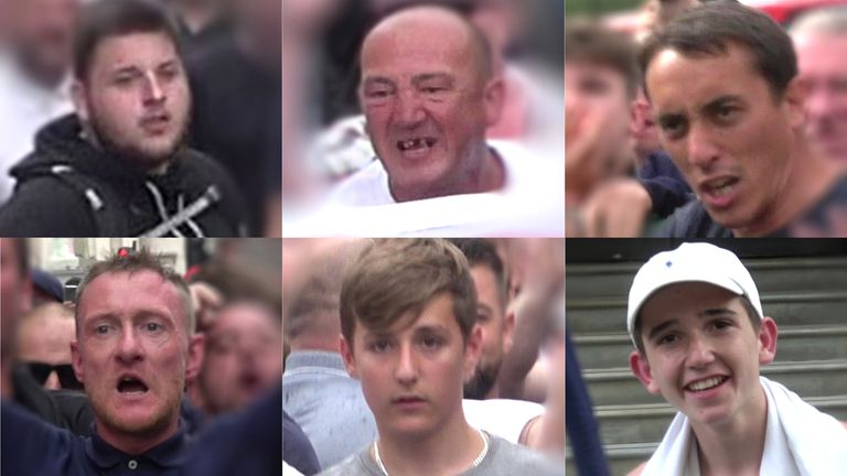 Handout photo supplied by the Metropolitan Police showing people police would like to speak to after violent disorder at the Free Tommy Robinson protest in London