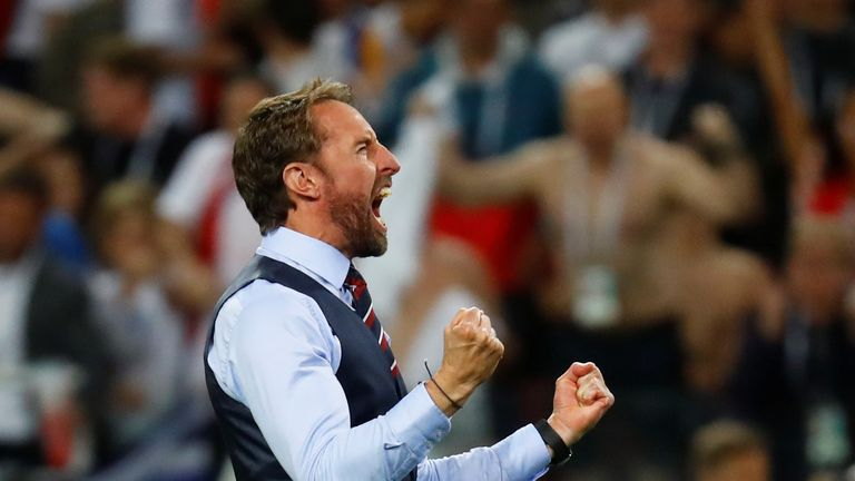Gareth Southgate celebrates England's historic shootout win