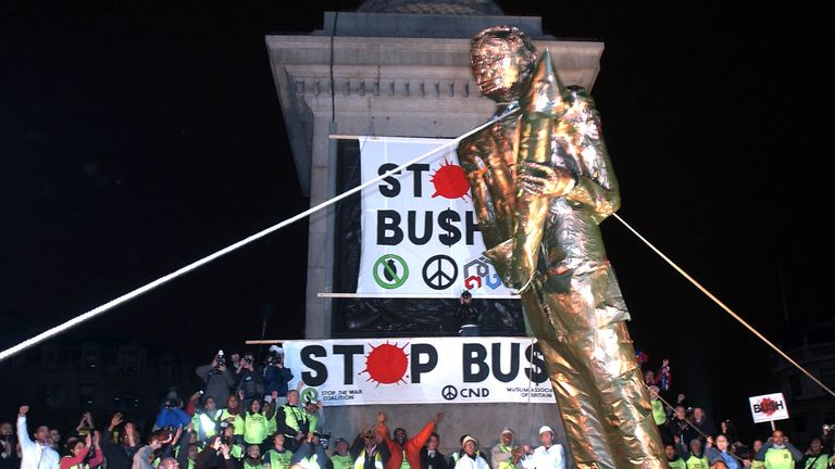 An effigy of George W Bush was pulled down in Trafalgar Square in November 2003