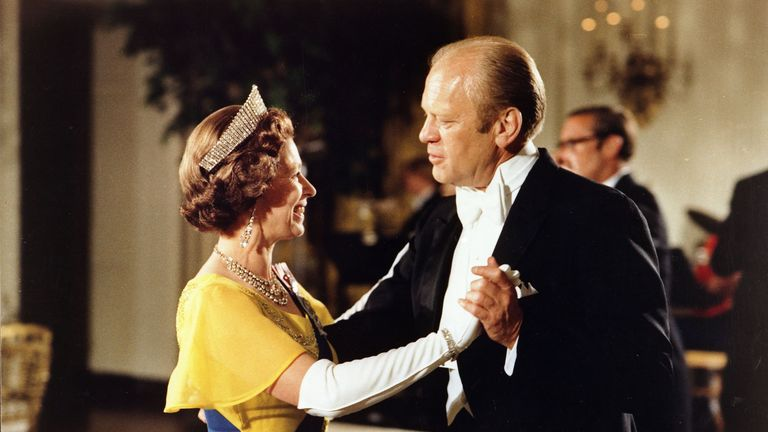 Gerald Ford danced with the Queen in Washington - but the band struck up an unfortunate tune
