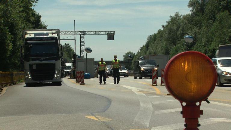 Lorries crossing the border in Bavaria
