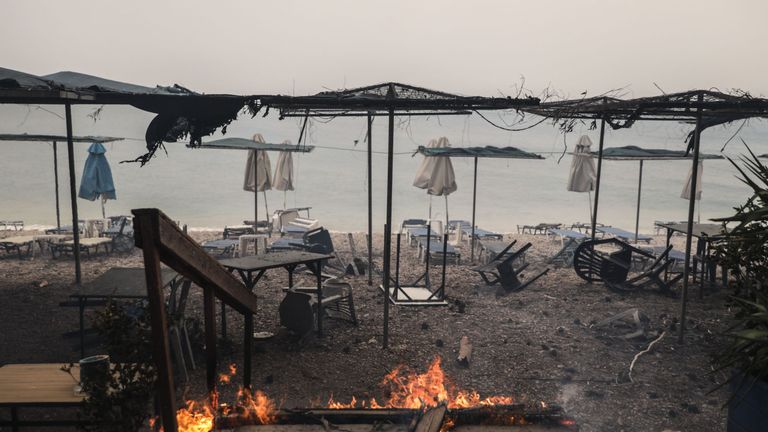 Damaged beach facilities at Kineta near Athens