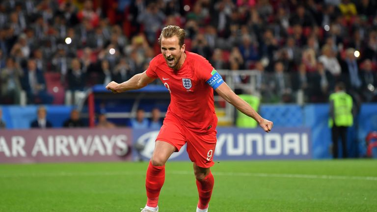 Harry Kane wheels away after scoring from the spot
