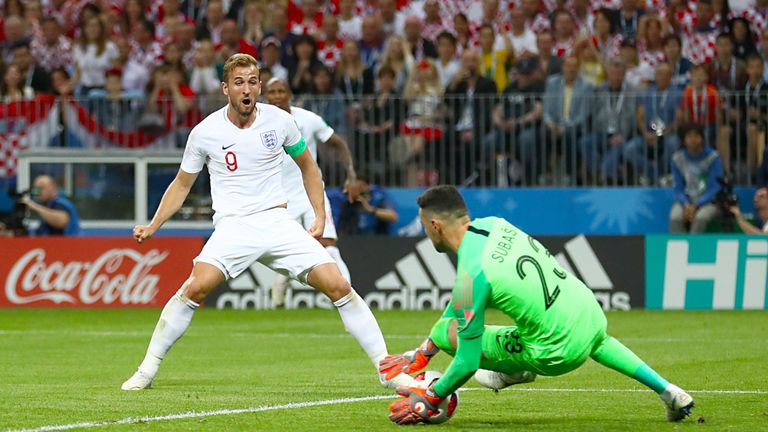 Harry Kane sees his shot saved against Croatia