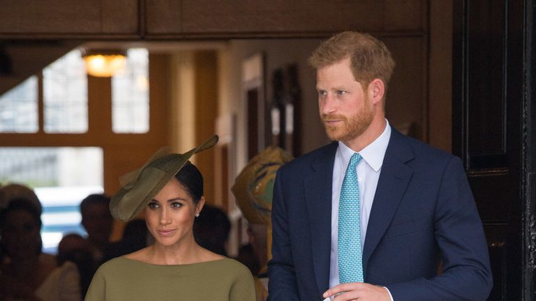 Prince Harry and his wife Meghan attended the service