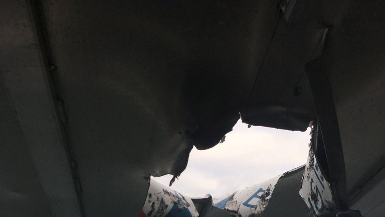 The lava punched a hole in the boat's roof