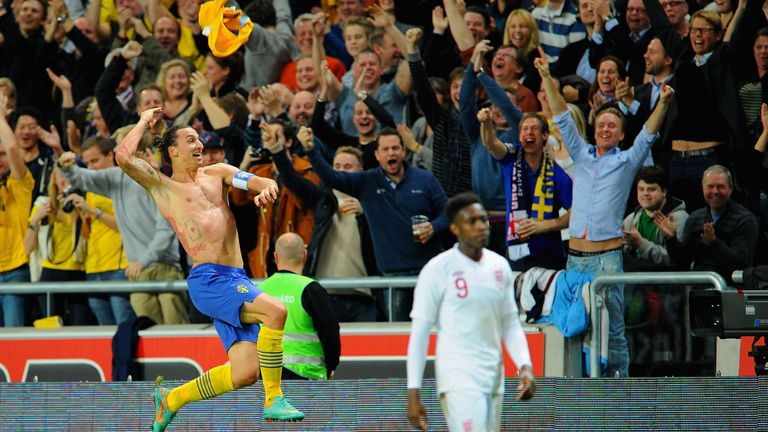Ibrahimovic celebrates after scoring an overhead kick from 30 yards against England