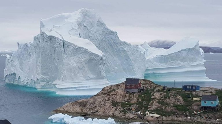 The giant iceberg has edged closer to homes on Innaarsuit