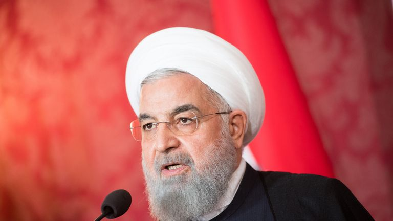 VIENNA, AUSTRIA - JULY 04: Austrian President Alexander van der Bellen (not pictured) and Iranian President Hassan Rouhani give a joint press statement at Hofburg Palace on July 4, 2018 in Vienna, Austria. Rouhani is on a one-day visit to Austria, during which he is meeting with President van der Bellen and Chancellor Kurz and will attend an event at the Austrian Chamber of Commerce. (Photo by Michael Gruber/Getty Images)
