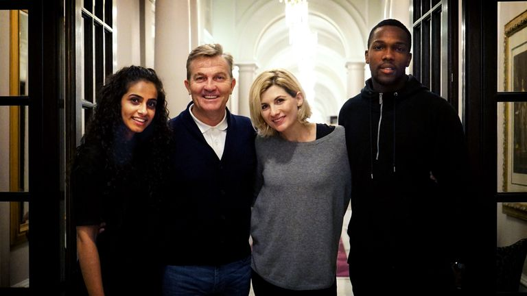 Yasmin (MANDIP GILL), Graham (BRADLEY WALSH), The Doctor (JODIE WHITTAKER), Ryan (TOSIN COLE). Pic: BBC