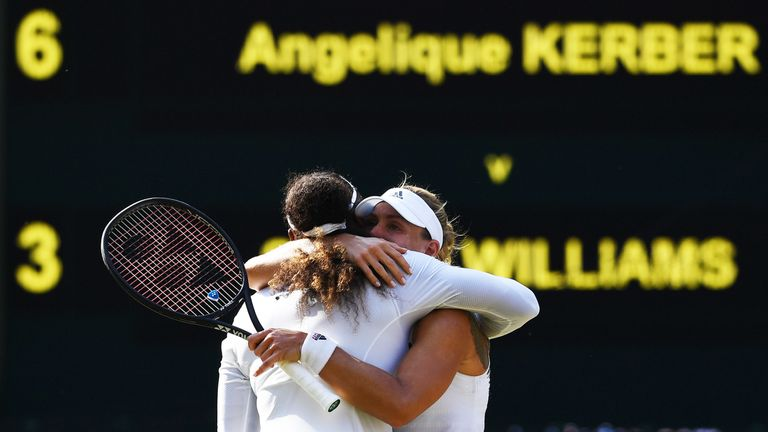 LONDON, ENGLAND - JULY 14: Angelique Kerber of Germany (R) embraces Serena Williams of The United States after the Ladies' Singles final on day twelve of the Wimbledon Lawn Tennis Championships at All England Lawn Tennis and Croquet Club on July 14, 2018 in London, England
