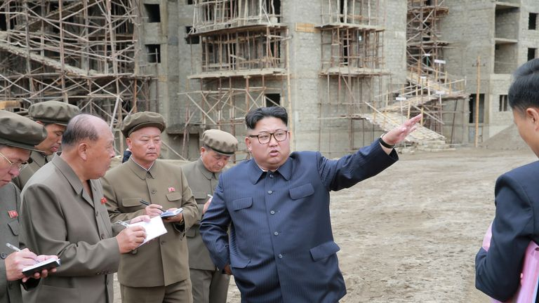 Kim Jong Un inspects a construction site in Samjiyon County