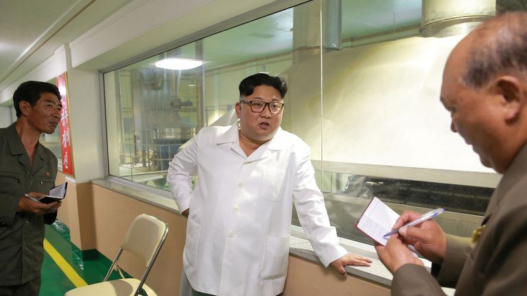 Aides wrote down what Mr Kim was saying at the potato powder factory