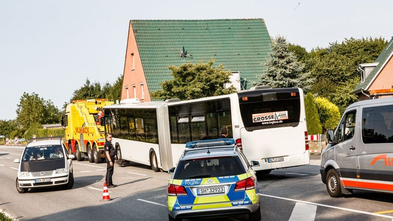 Aftermath of knife attack on bus in Germany