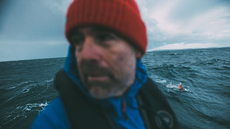 Renowned endurance swimmer and United Nations Environment Programme (UNEP)...s Patron of the Oceans, Lewis Pugh swims past Start Point, United Kingdom during The Long Swim campaign on 27 July 2018