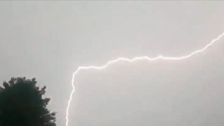Lightning streaks through the sky in Scarborough
