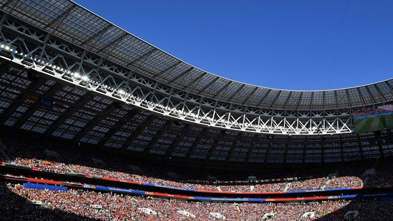 A general view shows football fans in the grandstand during the Russia 2018 World Cup round of 16 football match between Spain and Russia at the Luzhniki Stadium in Moscow on July 1, 2018