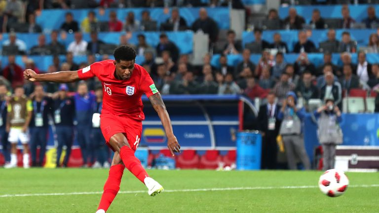 Marcus Rashford scores England's second penalty
