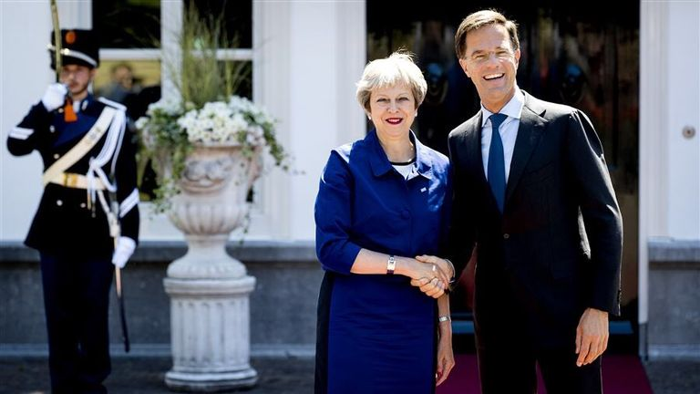 Mark Rutte and Theresa May met in The Hague to talk about Brexit and the future relationship. Pic: Mark Rutte/Twitter
