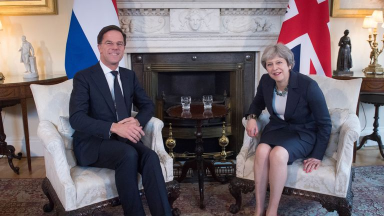 Mark Rutte and Theresa May met in London in February before her trip to the Netherlands in July