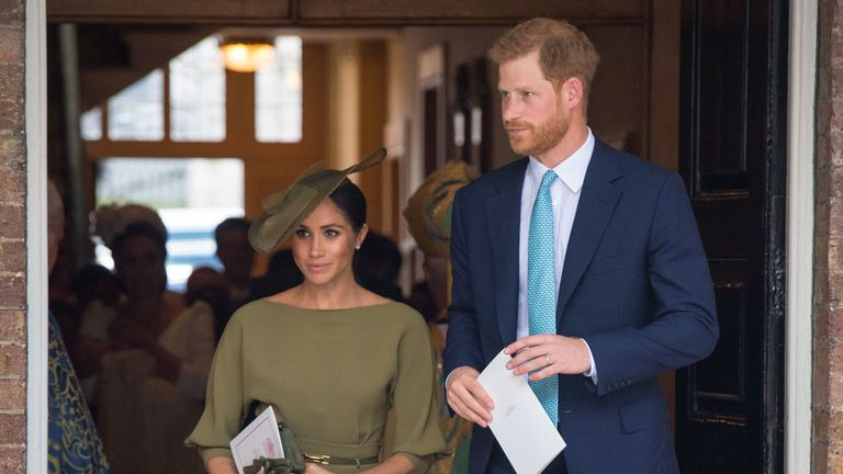 Meghan Markle and Prince Harry arrive for Louis' christening