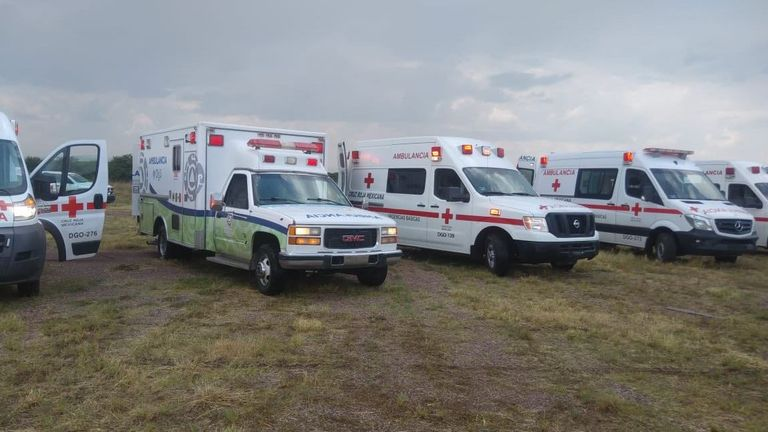 Ambulances nearby. Pic: State Coordination of Civil Protection, Durango/Twitter.