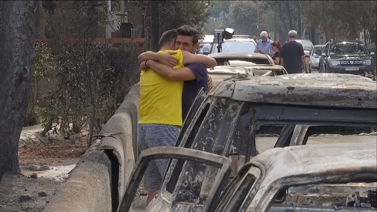 Survivors from the wildfires in Greece