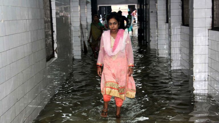 Rain has flooded hospitals and public building across India