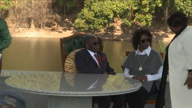 Zimbabwe's former leader Robert Mugabe pictured with his wife, Grace