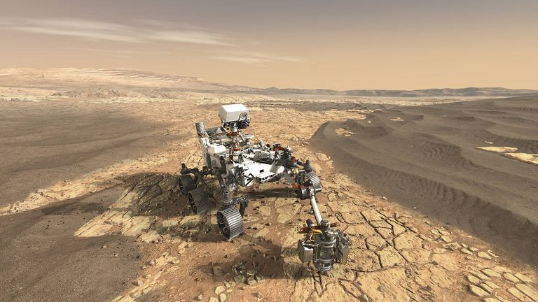 NASA's Mars 2020 rover on the surface of Mars. Artist impression