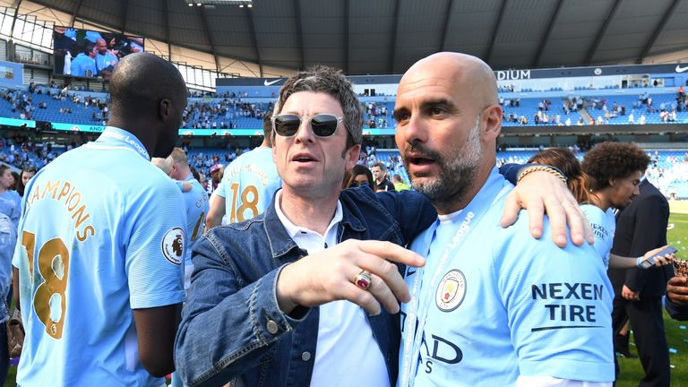 Noel Gallagher with Man City boss Pep Guardiola in May this year